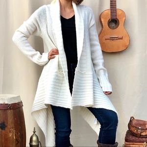 Michael Kors m white long cardigan duster sweater